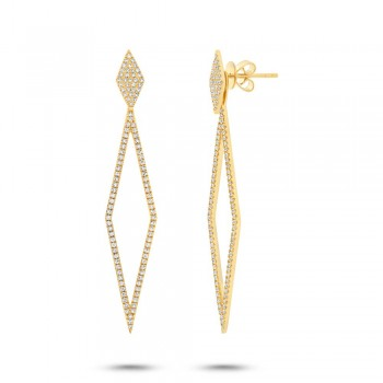 0.56ct 14k Yellow Gold Diamond Ear Jacket Earrings With Studs