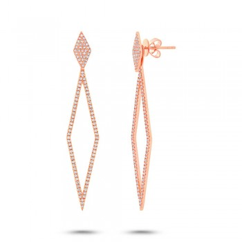 0.56ct 14k Rose Gold Diamond Ear Jacket Earrings With Studs