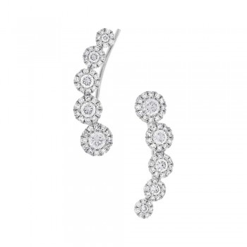 0.66ct 14k White Gold Diamond Ear Crawler Earrings