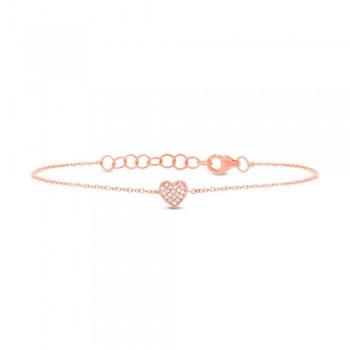 0.04ct 14k Rose Gold Diamond Pave Heart Bracelet