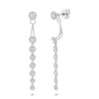0.87ct 14k White Gold Diamond Ear Jacket Earrings