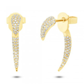 0.37ct 14k Yellow Gold Diamond Ear Jacket Earrings