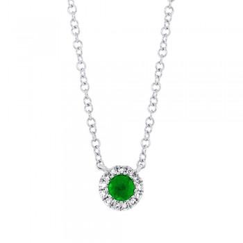 0.04ct Diamond & 0.11ct Green Garnet 14k White Gold Diamond Necklace