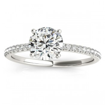 Diamond Accented Round Engagement Ring 14k White Gold (0.12ct)