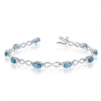Oval Blue Topaz & Diamond Infinity Bracelet 14k White Gold (4.53ct) Nine, icy cool, oval shaped, blue topaz gemstones are beautifully accented by five, near colorless, round diamonds in this 14k white gold infinity bracelet.This 7 inch long, blue topaz and diamond tennis bracelet has a total weight of about 4.53 carats and secures with a tongue and groove clasp.Classically elegant, this blue topaz and diamond white gold bracelet is that must-have, every day, fashion accessory.