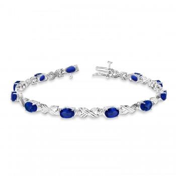 Blue Sapphire & Diamond XOXO Link Bracelet in 14k White Gold (6.65ct)