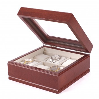 Six Watch Glass Top Storage Chest w/ 6 Soft-Suede Watch Pillows Keep your watches safe from unwanted damage in this Lieutenant watch chest by the American Chest Company.The watch chest features a glass top, six watch pillows and scratch resistant velour lining. It comes in a cherry wood.The watch chest measures 9 inches wide, 3.75 inches in height and 9 inches long.Perfect for both men and women the Lieutenant watch chest is a must have.
