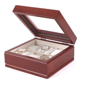 Six Watch Glass Top Storage Chest w/ 6 Soft-Suede Watch Pillows Showcase your watches while keeping them safe in this Lieutenant watch chest by the American Chest Company.The watch chest features a glass top, six watch pillows and scratch resistant velour lining. It comes in a mahogany wood.The watch chest measures 9 inches wide, 3.75 inches in height and 9 inches long.The Lieutenant watch chest is perfect for both men and women.