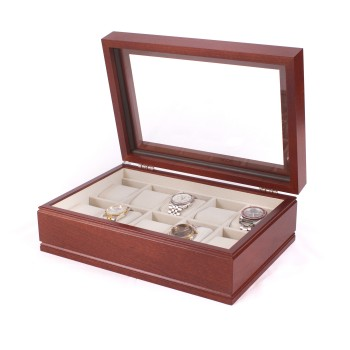 Ten Watch Glass Top Storage Chest w/ 10 Soft-Suede watch pillow Showcase while protecting your ten favorite watches in The Commander watch chest by the American Chest Company.The watch chest features a glass top, 10 watch pillows and a scratch resistant velour lining. The watch chest comes in mahogany wood. The watch chest measures 9 inches wide, 4.5 inches in height and 13 inches long.The Commander watch chest is a must have for those who love watches.