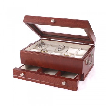 Ten Watch Cherry storage Chest w/ a Jeweler's Drawer & Glass top Showcase while protecting your watches with The Captain watch chest by the American Chest Company.The watch chest features a glass top, ten watch pillows, scratch resistant velour lining and a pull out drawer for other jewelry. The watch chest comes in a cherry wood.The watch chest measures 9 inches wide, 6.5 inches in height and 13 inches long.The Captain watch chest is a must have.