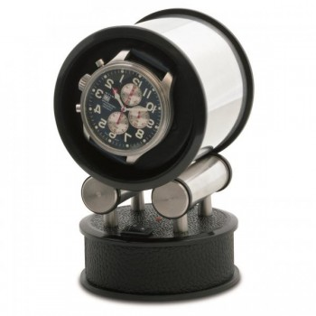 Orbita Cylandrical Single Watch Winder Voyager in Faux Leather Wind your automatic watch on-the-go or at home with this exquisite faux leather frame single watch winder by Orbita. The Voyager sets up easily wherever you are. Four AAA batteries power the concealed gearmotor or you can use the supplied AC/DC adapter.Both the base and the stainless steel mounting cylinder with mounted watch fit securely into the easy-to-carry, suede-lined leather carrying case. This single watch winder measures 6 Inches x 4 Inches x 4 Inches.