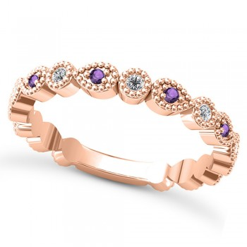 Alternating Diamond & Amethyst Wedding Band 18k Rose Gold (0.21ct) This 18k rose gold diamond and amethyst wedding band is anything but ordinary.8 individual diamonds and 9 individual amethysts cover almost the entire band, and are each surrounded by milgrain edging, alternating between diamond round shapes and amethyst pear shapes.The sides and bottom of this ring are smooth, so it fits comfortably on your finger.The 0.08ct of bezel set diamonds are G-H color and SI1-SI2 clarity, and the 0.14ct of prong set amethysts are eye clean.This beautiful all around ring can be worn as a wedding band, as a stackable ring, or as a right hand fashion ring.
