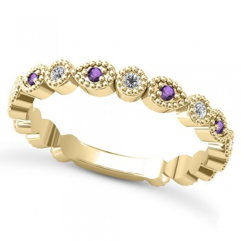 Alternating Diamond & Amethyst Wedding Band 18k Yellow Gold (0.21ct) This 18k yellow gold diamond and amethyst wedding band is anything but ordinary.8 individual diamonds and 9 individual amethysts cover almost the entire band, and are each surrounded by milgrain edging, alternating between diamond round shapes and amethyst pear shapes.The sides and bottom of this ring are smooth, so it fits comfortably on your finger.The 0.08ct of bezel set diamonds are G-H color and SI1-SI2 clarity, and the 0.14ct of prong set amethysts are eye clean.This beautiful all around ring can be worn as a wedding band, as a stackable ring, or as a right hand fashion ring.