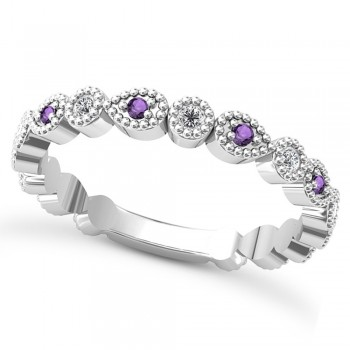 Alternating Diamond & Amethyst Wedding Band Platinum (0.21ct) This platinum diamond and amethyst wedding band is anything but ordinary.8 individual diamonds and 9 individual amethysts cover almost the entire band, and are each surrounded by milgrain edging, alternating between diamond round shapes and amethyst pear shapes.The sides and bottom of this ring are smooth, so it fits comfortably on your finger.The 0.08ct of bezel set diamonds are G-H color and SI1-SI2 clarity, and the 0.14ct of prong set amethysts are eye clean.This beautiful all around ring can be worn as a wedding band, as a stackable ring, or as a right hand fashion ring.