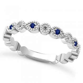 Alternating Diamond & Blue Sapphire Wedding Band 14k White Gold (0.21ct) This 14k white gold diamond and blue sapphire wedding band is anything but ordinary.8 individual diamonds and 9 individual blue sapphires cover almost the entire band, and are each surrounded by milgrain edging, alternating between diamond round shapes and blue sapphire pear shapes.The sides and bottom of this ring are smooth, so it fits comfortably on your finger.The 0.08ct of bezel set diamonds are G-H color and SI1-SI2 clarity, and the 0.14ct of prong set blue sapphires are eye clean.This beautiful all around ring can be worn as a wedding band, as a stackable ring, or as a right hand fashion ring.