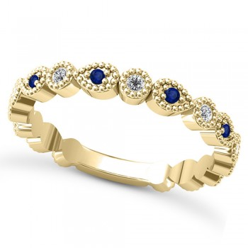 Alternating Diamond & Blue Sapphire Wedding Band 14k Yellow Gold (0.21ct) This 14k yellow gold diamond and blue sapphire wedding band is anything but ordinary.8 individual diamonds and 9 individual blue sapphires cover almost the entire band, and are each surrounded by milgrain edging, alternating between diamond round shapes and blue sapphire pear shapes.The sides and bottom of this ring are smooth, so it fits comfortably on your finger.The 0.08ct of bezel set diamonds are G-H color and SI1-SI2 clarity, and the 0.14ct of prong set blue sapphires are eye clean.This beautiful all around ring can be worn as a wedding band, as a stackable ring, or as a right hand fashion ring.