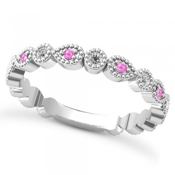 Alternating Diamond & Pink Sapphire Wedding Band 14k White Gold (0.21ct) This 14k white gold diamond and pink sapphire wedding band is anything but ordinary.8 individual diamonds and 9 individual pink sapphires cover almost the entire band, and are each surrounded by milgrain edging, alternating between diamond round shapes and pink sapphire pear shapes.The sides and bottom of this ring are smooth, so it fits comfortably on your finger.The 0.08ct of bezel set diamonds are G-H color and SI1-SI2 clarity, and the 0.14ct of prong set pink sapphires are eye clean.This beautiful all around ring can be worn as a wedding band, as a stackable ring, or as a right hand fashion ring.