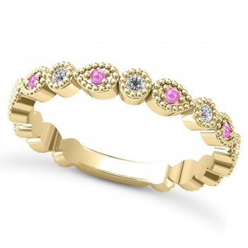 Alternating Diamond & Pink Sapphire Wedding Band 14k Yellow Gold (0.21ct) This 14k yellow gold diamond and pink sapphire wedding band is anything but ordinary.8 individual diamonds and 9 individual pink sapphires cover almost the entire band, and are each surrounded by milgrain edging, alternating between diamond round shapes and pink sapphire pear shapes.The sides and bottom of this ring are smooth, so it fits comfortably on your finger.The 0.08ct of bezel set diamonds are G-H color and SI1-SI2 clarity, and the 0.14ct of prong set pink sapphires are eye clean.This beautiful all around ring can be worn as a wedding band, as a stackable ring, or as a right hand fashion ring.