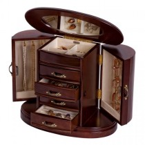 Wooden Jewelry Box in Walnut Finish, Rounded Design, Interior Mirror