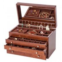 Wooden Jewelry Box, Antique Finish, Interior Mirror, Drawers, Storage