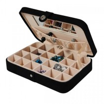 Black Jewelry Box & Ring Case, 24 Sections, Hand Lined, Home or Travel