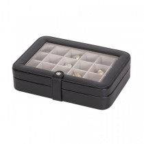 Black Jewelry Box & Ring Case, 24 Sections, Faux Leather, Home/ Travel