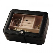 Black Faux Leather Jewelry Box, 3 Sections, Clear Lid, Jewel Case