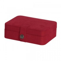 Red Fabric Jewelry Box with Lift Out Tray, Ring Rolls, Home/Travel