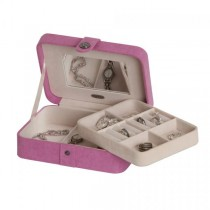 Pink Fabric Jewelry Box with Lift Out Tray, Ring Rolls, Home/Travel