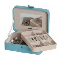 Aqua Fabric Jewelry Box with Lift Out Tray, Ring Rolls, Home/Travel