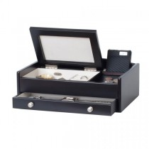 Wooden Dresser Top Valet, Catch-All Java Finish Open Jewelry Tray