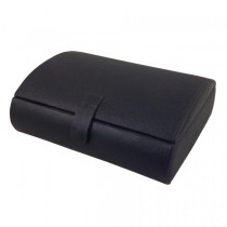 Black Faux Leather Watch Box. 10 Padded Compartments, Money Storage