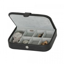Men's Travel Case for Cufflinks, Watches, Rings in Black Faux Leather