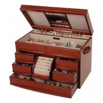 Walnut Finish Wooden Jewelry Box. Drawers, Ring Rolls, Necklace Hooks