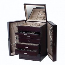 Upright Wooden Jewelry Box, Chest w/ Drawers, Ring Roll, Necklace Hooks