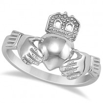 Traditional Claddagh Ring Irish Celtic Style for Women 14K White Gold