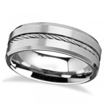 Steel Wire Cable Inlay and Beveled Edges Tungsten Wedding Band (8mm)