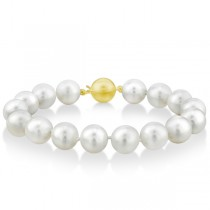 AAA Lustrous White South Sea Pearl Strand Bracelet 7 Inches 11-12mm
