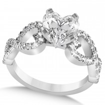 Heart Shaped Diamond Engagement Ring Twisted 14k White Gold (1.46ct)