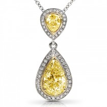 Fancy Pear Yellow Diamond Pendant Necklace 18k Two-Tone Gold (1.88ct)