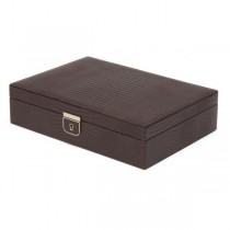 Wolf Designs Medium Jewelry Box in Brown Leather w/ 6 Compartments