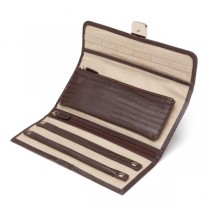 Wolf Designs Jewelry Roll Box in Brown Leather w/ 2 Compartments