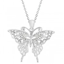Butterfly Shaped Pendant Necklace 14K White Gold