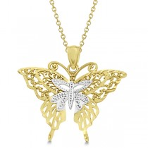 Two Tone Butterfly Shaped Pendant Necklace 14K White & Yellow Gold