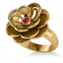 Ruby Flower Fashion Ring 14k Yellow Gold (0.06ct)