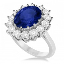 Oval Blue Sapphire and Diamond Accented Ring 14k White Gold (5.40ctw)