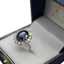 Oval Blue Sapphire & Diamond Accented Ring 14k White Gold (5.40ctw)