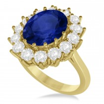 Oval Blue Sapphire & Diamond Accented Ring 18k Yellow Gold (5.40ctw)
