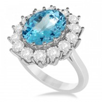 Oval Blue Topaz & Diamond Accented Ring in 14k White Gold (5.40ctw)