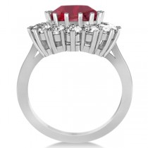 Oval Ruby and Diamond Ring 14k White Gold (5.40ctw)